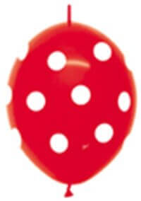 link-o-loon printed balloons - polka dot red