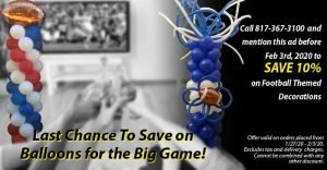 discounts on football theme balloon decorations